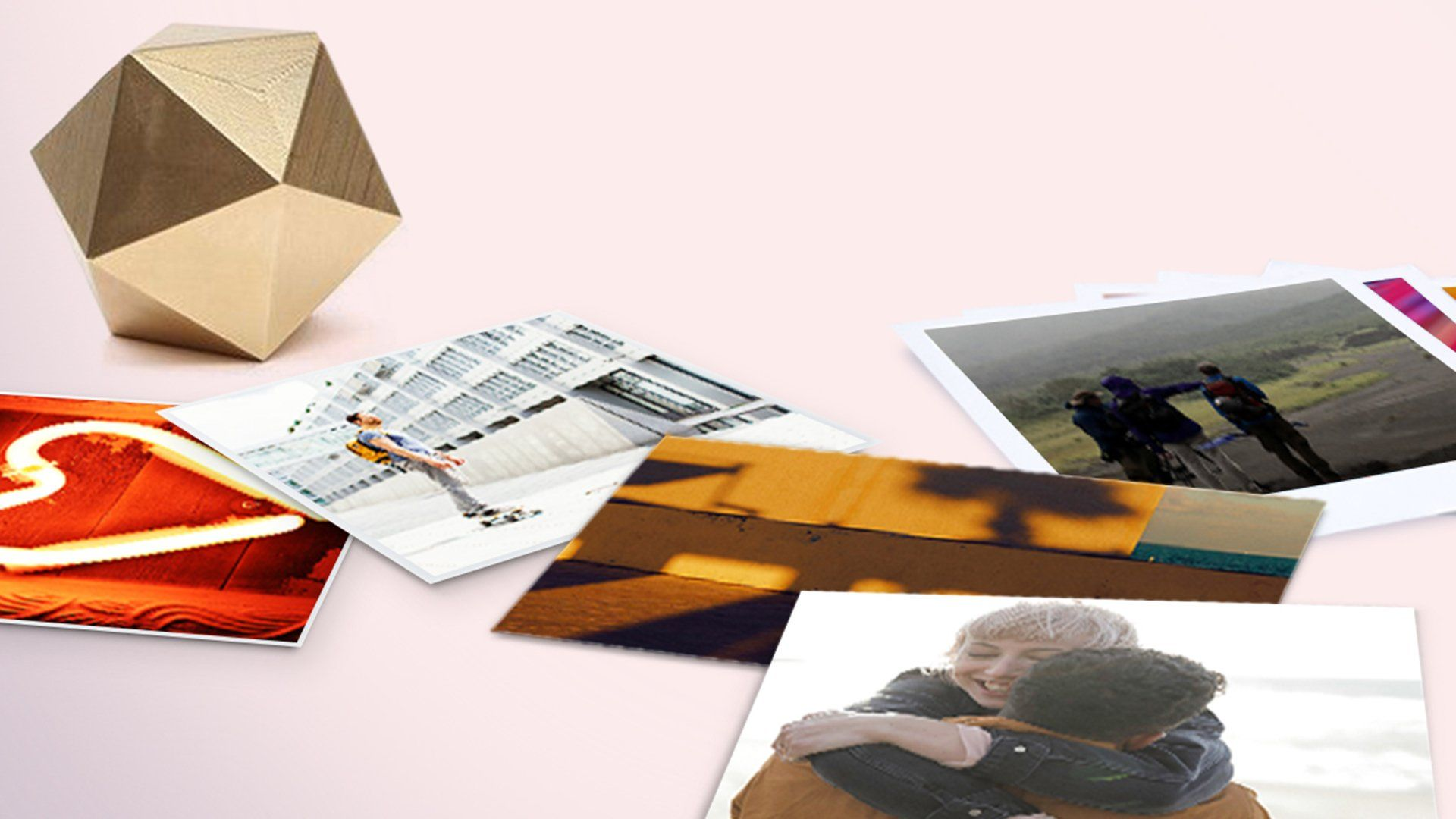 A cluster of prints showing some memorable imagery ranging from relationships to journeys.